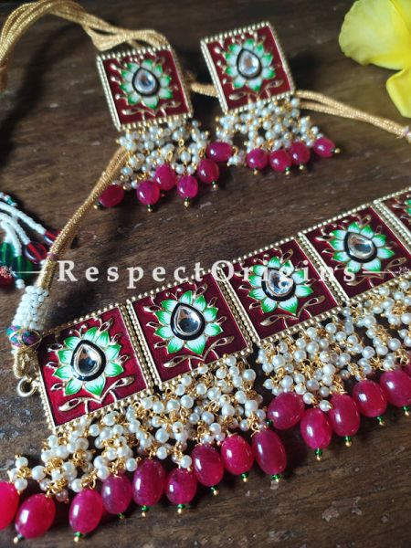 Two Tone Red and Soft Green Festive Meenakari Enamel Choker Necklace Set with Dori; Ruby Pink Stones; RespectOrigins.Com