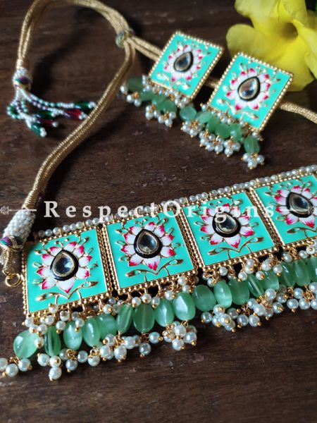 Two Tone Turquoise Blue Festive Meenakari Enamel Choker Necklace Set with Dori; RespectOrigins.Com