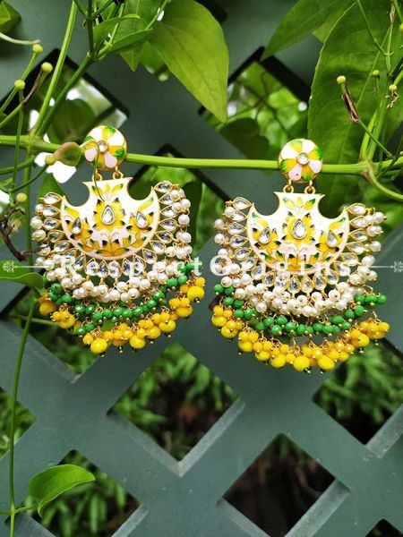 Delightful Two Toned Yellow Festive Meenakari Enamel Jadau Chand Bali Style Ear-rings; Cascading Three Layers of White, Yellow and Green Stones; RespectOrigins.Com