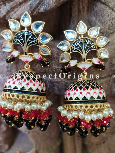 Shaiyasta Meenakari Enamel Kundan Jhumki Ear-rings with Delicate Pearly Bead Drops. RespectOrigins.Com