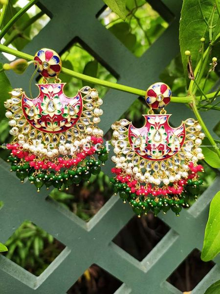 Delightful Two Toned Green and Red Festive Meenakari Enamel Jadau Chand Bali Style Ear-rings; Cascading Three Layers of White, Red and Green Stones; RespectOrigins.Com