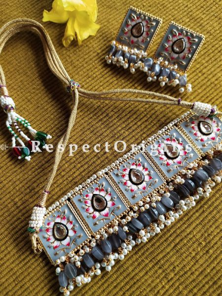 Soft Amethyst Grey Festive Meenakari Enamel Choker Necklace Set with Dori; Bead Stones; RespectOrigins.Com