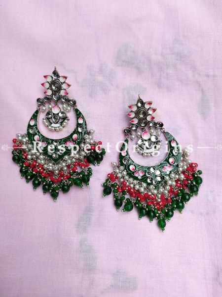 Multi-coloured Meenakari Chand-bali Ear-rings with Coloured Beads; RespectOrigins.Com