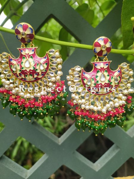 Fabulous Two Toned Green- Blue and Red Festive Meenakari Enamel Jadau Chand Bali Style Ear-rings; Cascading Three Layers of White