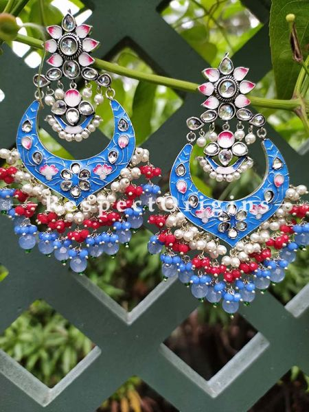 Blue Turquoise Two-toned Meenakari Chand-Bali Ear-rings with Pearl; RespectOrigins.Com
