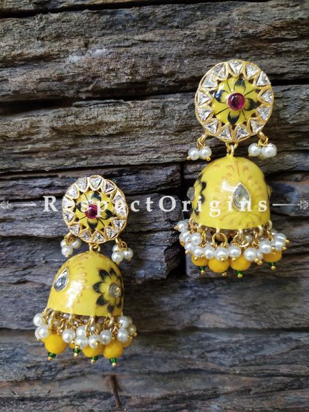 Ruhi Meenakari Enamel Kundan Jhumki Ear-rings with Delicate Pearly Bead Drops. RespectOrigins.Com