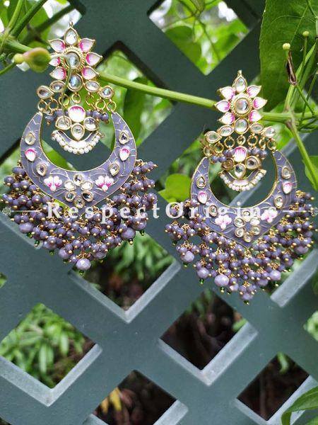 Gray Two-toned Meenakari Chand-Bali Ear-rings with Pearl; RespectOrigins.Com