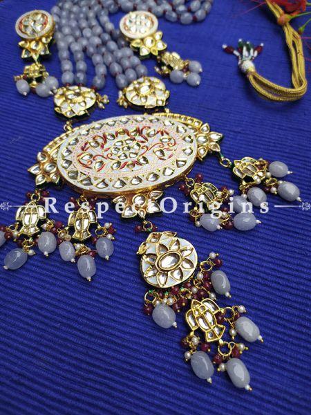 Two Tone Soft Pink Meenakari Enamel Kundan Necklace Set with Dori; Mauve Stones; RespectOrigins.Com