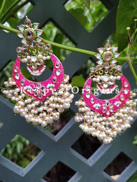 Pink Two-toned Meenakari Chand-Bali Ear-rings with Pearl; RespectOrigins.Com