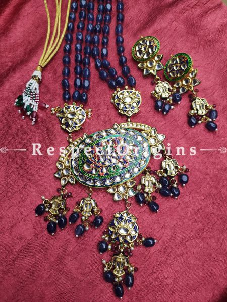 Two Tone Green - Red Meenakari Enamel Kundan Necklace Set with Dori; Deep Blue Stones; RespectOrigins.Com