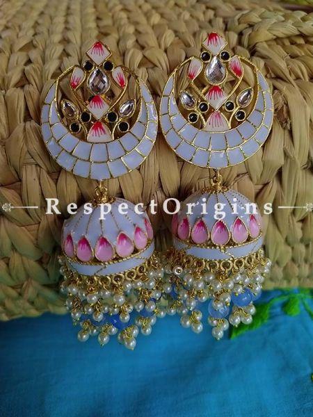 Lavender Meenakari Enamel Chand- Crescent Jhumki Ear-rings; RespectOrigins.Com
