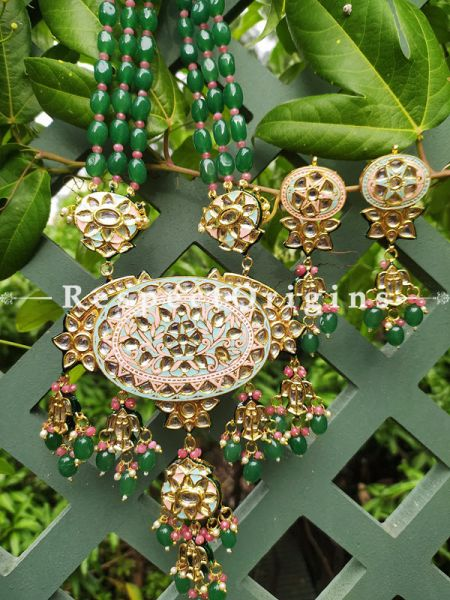 Two Tone Soft Pink Lotus Motif Meenakari Enamel Kundan Necklace Set with Dori; Emerald Green Bead Stones; RespectOrigins.Com
