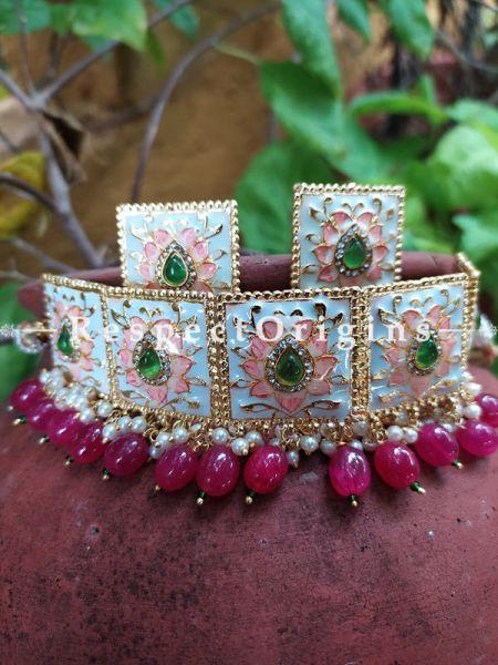 Two Tone Soft Pink Rose Meenakari Enamel Choker Necklace Set with Dori; Ruby Pink Stones; RespectOrigins.Com