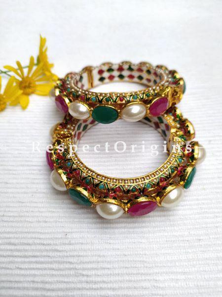 Multi-coloured Green, Red and Pearl White Jadau Stones Meenakari Enamel Kangan Bangles Pair; Screw Pech Closure; RespectOrigins.Com