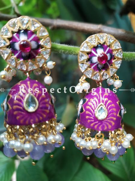 Tamanna Meenakari Enamel Kundan Jhumki Ear-rings with Delicate Pearly Bead Drops. RespectOrigins.Com