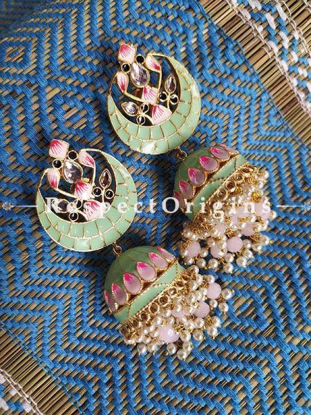 Pista Green and Pink Meenakari Ear-rings Jhumki; RespectOrigins.Com