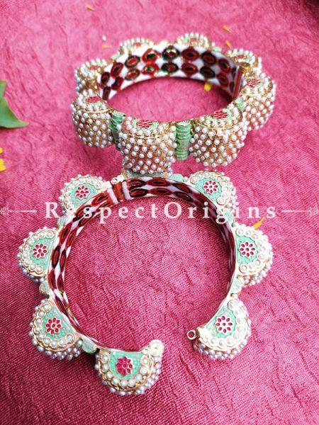 Gorgeous Pearl White Jadau Stones Meenakari Enamel Kangan Bangles Pair; Screw Pech Closure; RespectOrigins.Com