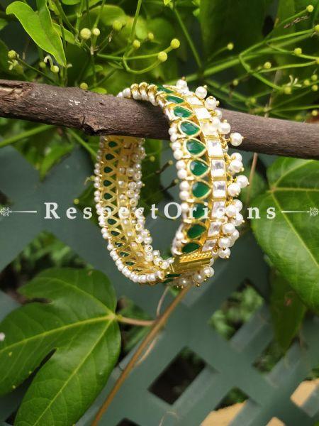 Green and Pearl White Jadau Stones Meenakari Enamel Kangan Bangles Pair; Screw Pech Closure; RespectOrigins.Com