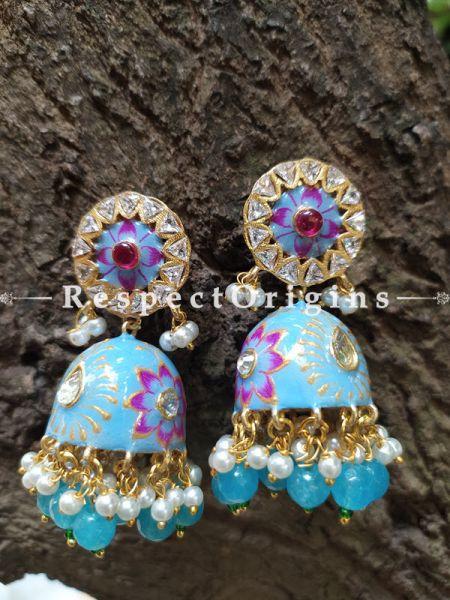 Seema Meenakari Enamel Kundan Jhumki Ear-rings with Delicate Pearly Bead Drops. RespectOrigins.Com