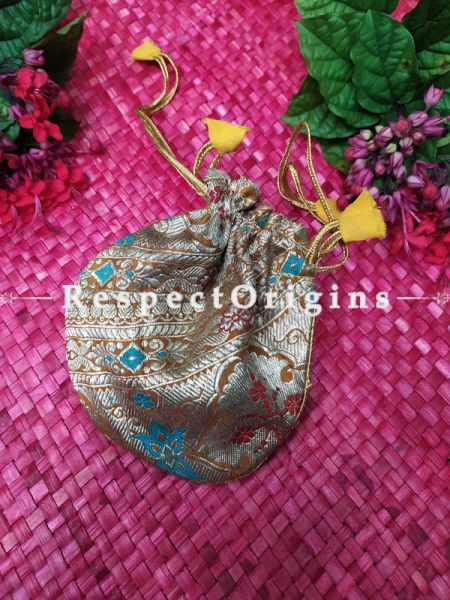 Gifting Money or Jewellery Pouch Draw-string Bag in Brocade; 5 X 3 Inches; RespectOrigins.com