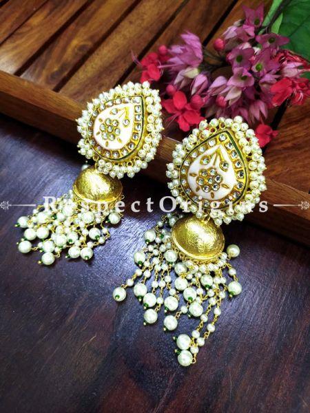 Gold Toned Kundan Enamel Minakari Pearly Jhumki Chandelier Ear-rings; Soft Pink; RespectOrigins.com