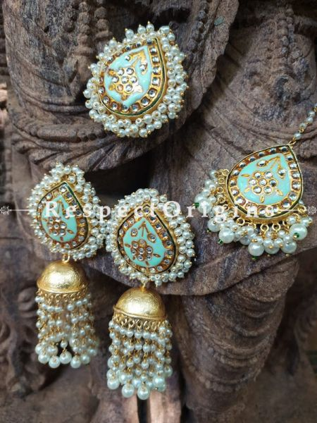 Gold Toned Kundan Enamel Minakari Pearly Jhumki Chandelier Ear-rings, Mang-Tikka and Ring Set; Pistachio Green; RespectOrigins.com