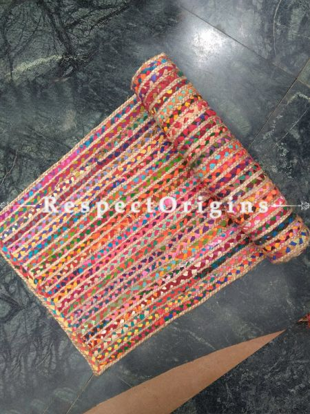 Jute & Cotton Up cycled Chindi Rug Floor Runner 24X72 inches; RespectOrigins