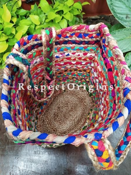 Buy Bold and Beautiful! Braided Jute Cotton Boho Bag with Shoulder Straps; Multi-Colour;At RespectOrigins