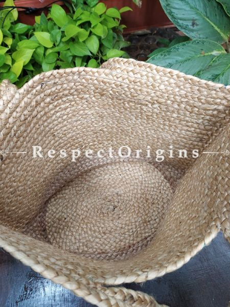 Buy Blue and Brown Handwoven Organic Jute Braided Shopping or Beach Hand Bag;At RespectOrigins