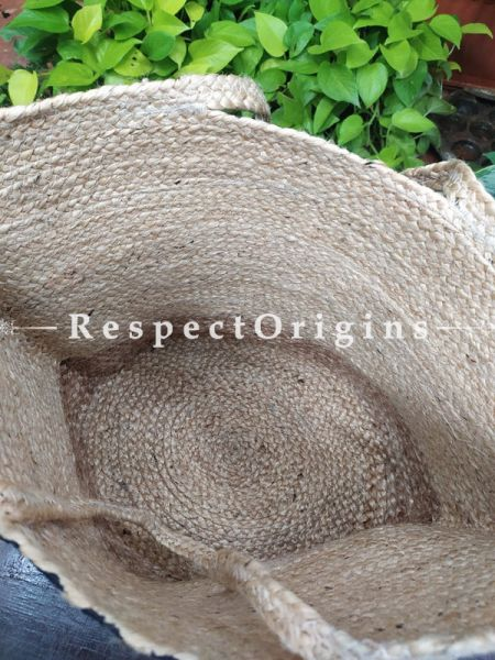 Buy Natural Brown and Green Floral Design Handwoven Organic Jute Braided Shopping or Beach Hand Bag;At RespectOrigins