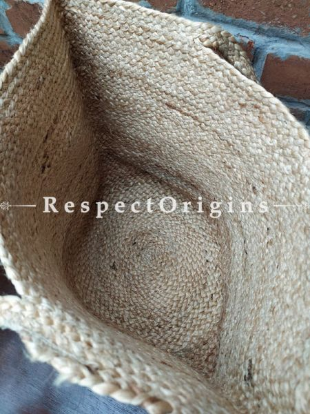 Buy Natural Brown and Blue Geometrical Design Handwoven Organic Jute Braided Shopping or Beach Hand Bag;At RespectOrigins
