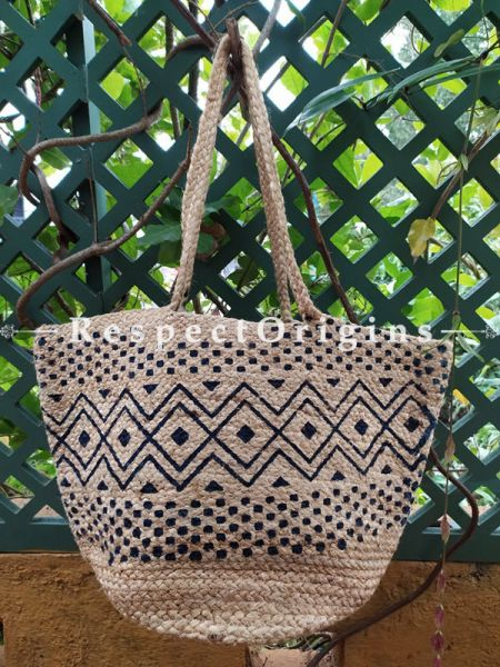 Buy Natural Brown Base With Blue Geometrical Design Handwoven Organic Jute Braided Shopping or Beach Hand Bag;At RespectOrigins