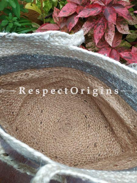 Buy Natural Brown, Blue & Beige Handwoven Organic Jute Braided Shopping or Beach Hand Bag;At RespectOrigins
