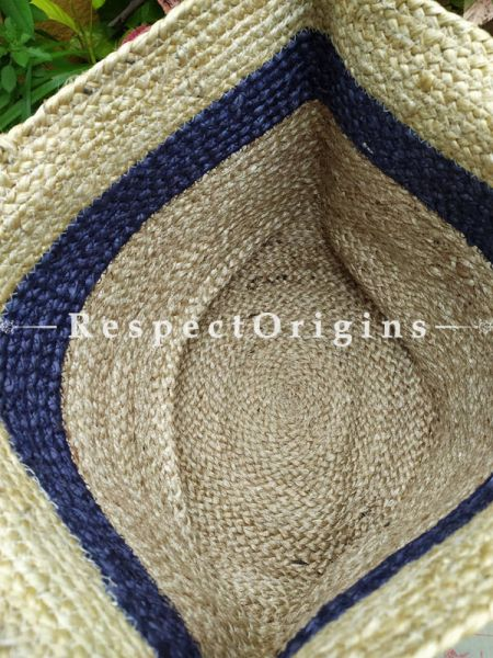 Buy Natural Brown Base With Blue Stripe Handwoven Organic Jute Braided Shopping or Beach Hand Bag;At RespectOrigins
