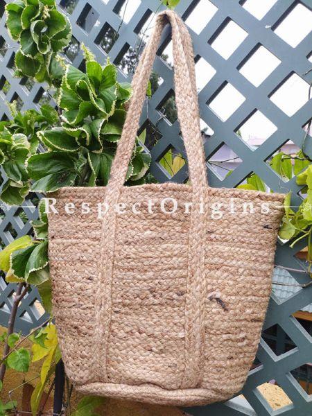 Buy Brown Handwoven Organic Jute Braided Shopping or Beach Hand Bag; Natural;At RespectOrigins