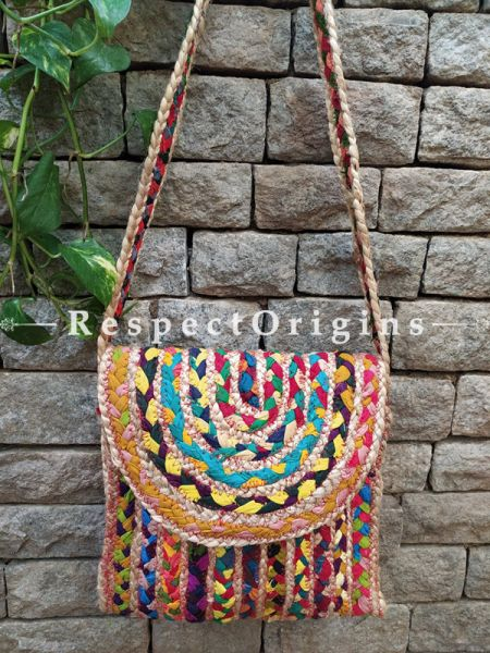 Buy Chindi Style Organic Hand Braided Multi-coloured Jute Tablet Cross-Body Bag with Strap;At RespectOrigins
