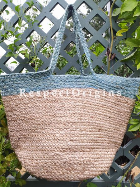 Buy Light Blue and Brown Handwoven Organic Jute Braided Shopping or Beach Hand Bag;At RespectOrigins