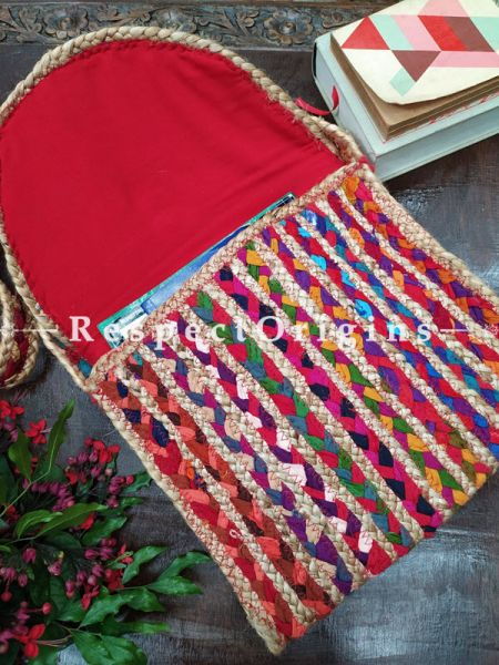 Buy Chemical Free Organic Hand Braided Multi-coloured Jute Tablet Cross-Body Bag with Strap. ;At RespectOrigins