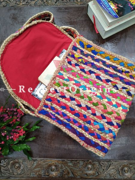 Buy Organic Hand Braided Multi-coloured Jute Tablet Cross-Body Bag with Strap.;At RespectOrigins