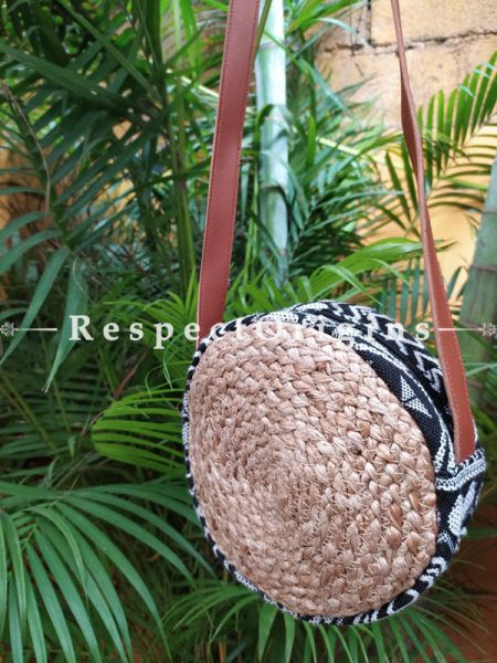Buy Round Brown Base Hand Braided Jute Cotton Crossbody Boho Bag with Leather Shoulder Straps;At RespectOrigins