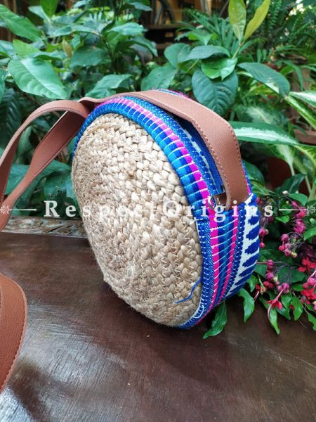 Buy Round Brown & Blue Hand Braided Jute Cotton Crossbody Boho Bag with Leather Shoulder Straps;At RespectOrigins