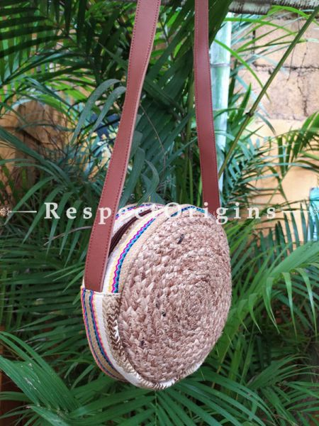 Buy Round Hand Braided Jute Cotton Crossbody Boho Bag with Leather Shoulder Straps;At RespectOrigins