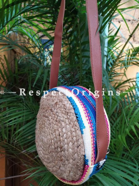 Buy Round Chemical Free Hand Braided Jute Cotton Crossbody Boho Bag with Leather Shoulder Straps;At RespectOrigins