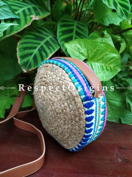 Buy Round Blue & Brown Hand Braided Jute Cotton Crossbody Boho Bag with Leather Shoulder Straps;At RespectOrigins