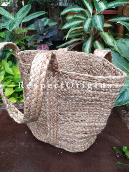 Buy Chemical Free Hand Braided Brown Jute Cotton Boho Bag with Shoulder Straps;At RespectOrigins