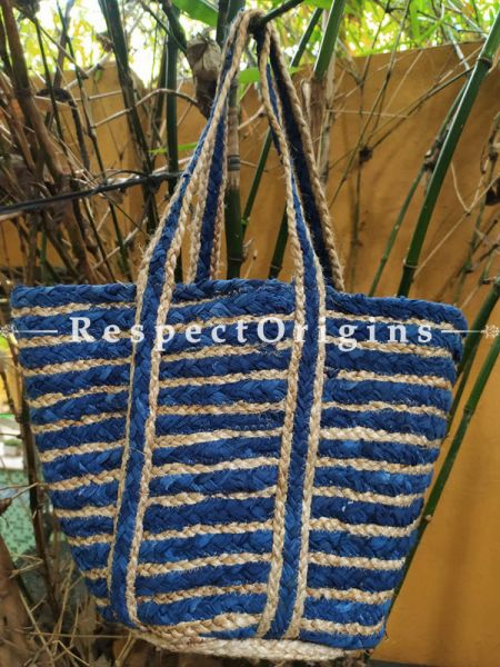 Buy Chemical Free Hand Braided Brown and Blue Stripes Jute Cotton Boho Bag with Shoulder Straps;At RespectOrigins