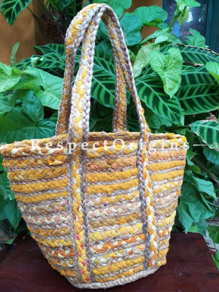 Buy Chemical Free Hand Braided Brown and Yellow Stripes Jute Cotton Boho Bag with Shoulder Straps;At RespectOrigins
