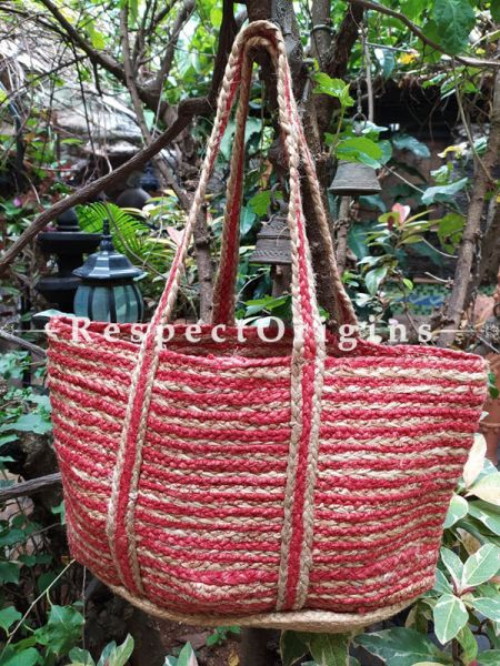 Buy Chemical Free Hand Braided Brown and Red Stripes Jute Cotton Boho Bag with Shoulder Straps;At RespectOrigins