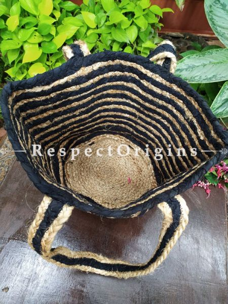 Buy Chemical Free Hand Braided Brown and Black Stripes Jute Cotton Boho Bag with Shoulder Straps;At RespectOrigins