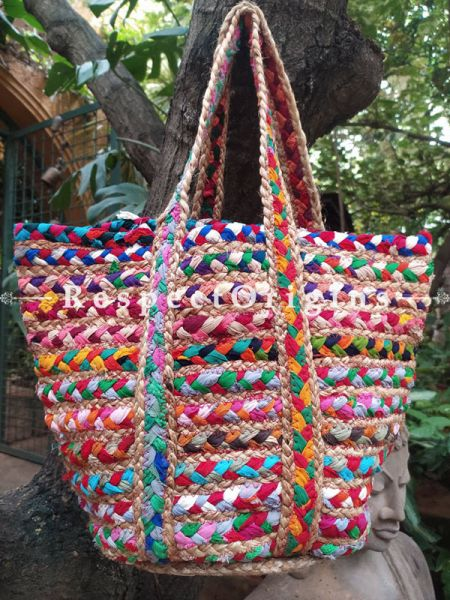 Buy Chemical Free Multi-Colour Hand Braided Jute Cotton Boho Bag with Shoulder Straps; Chindi Style.;At RespectOrigins